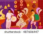vector illustration of happy... | Shutterstock .eps vector #487606447