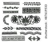 ancient rome border ornaments ... | Shutterstock .eps vector #487619533