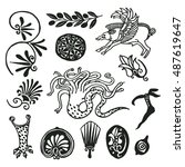 freehand drawings. ancient... | Shutterstock .eps vector #487619647