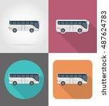 big tour bus flat icons... | Shutterstock . vector #487624783
