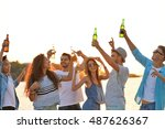 group of friends hanging out... | Shutterstock . vector #487626367