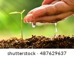 plant for life concept with... | Shutterstock . vector #487629637