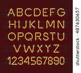neon light alphabet vector font | Shutterstock .eps vector #487630657