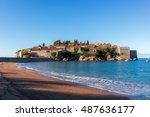 sveti stefan beach in budva ... | Shutterstock . vector #487636177