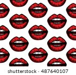 lips red pattern on white... | Shutterstock .eps vector #487640107