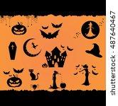 halloween vector flat icon set  ... | Shutterstock .eps vector #487640467