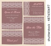 set of wedding cards with... | Shutterstock .eps vector #487650697