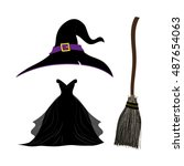witch hat . black witch dress.... | Shutterstock .eps vector #487654063