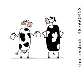 funny bull and cows with... | Shutterstock .eps vector #487660453