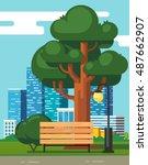 city park bench under a big... | Shutterstock .eps vector #487662907