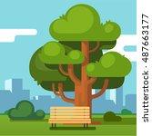 city park bench under a big... | Shutterstock .eps vector #487663177