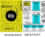 restaurant menu placemat food... | Shutterstock .eps vector #487673197