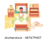 man sleep in bed | Shutterstock .eps vector #487679407