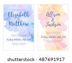 vector watercolor background ... | Shutterstock .eps vector #487691917