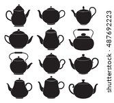 vector tea pots silhouettes.   Shutterstock .eps vector #487692223