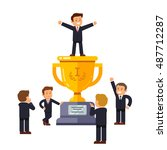 leader standing on big winner... | Shutterstock .eps vector #487712287