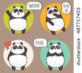 set of cute panda bear stickers ... | Shutterstock .eps vector #487717453