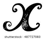 letter x. calligraphy alphabet... | Shutterstock .eps vector #487727083