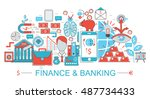modern flat thin line design... | Shutterstock .eps vector #487734433