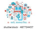 modern flat thin line design...   Shutterstock .eps vector #487734457
