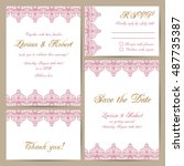 set of wedding cards with... | Shutterstock .eps vector #487735387