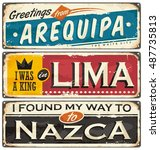 travel to peru retro tin signs... | Shutterstock .eps vector #487735813