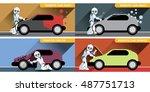 digital vector silver happy... | Shutterstock .eps vector #487751713