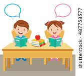 children reading book. vector... | Shutterstock .eps vector #487758577