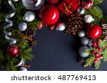 christmas and new year... | Shutterstock . vector #487769413