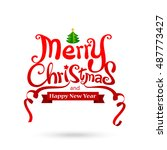merry christmas text free hand... | Shutterstock .eps vector #487773427
