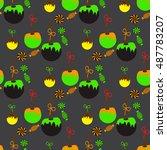 seamless pattern for halloween... | Shutterstock .eps vector #487783207