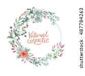 wildflower lily flower wreath... | Shutterstock . vector #487784263