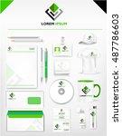 corporate green and dark... | Shutterstock .eps vector #487786603