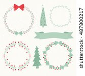christmas elements  wreath...   Shutterstock .eps vector #487800217