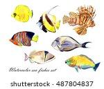 Watercolor Fish. Sea Fish Set...