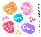 set lettering handwritten brush ... | Shutterstock .eps vector #487809817