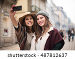trendy young women taking... | Shutterstock . vector #487812637
