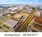 aerial view to industrial zone... | Shutterstock . vector #487833577