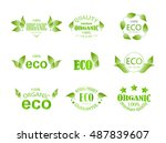 set of eco labels with leaves... | Shutterstock .eps vector #487839607