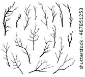 hand drawn tree branches... | Shutterstock .eps vector #487851253