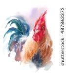 Watercolor Farm Bird Rooster...