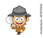 detective leaning on an empty...   Shutterstock .eps vector #487879603