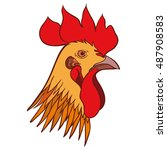rooster head. hand drawn sketch ... | Shutterstock . vector #487908583