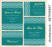 set of wedding cards with... | Shutterstock .eps vector #487939897