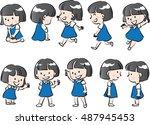 vector drawing girl action set   Shutterstock .eps vector #487945453