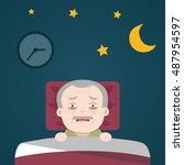 insomnia  sleeplessness  old... | Shutterstock .eps vector #487954597