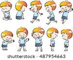 vector drawing boy action set | Shutterstock .eps vector #487954663