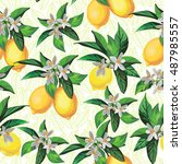 lemon seamless pattern on white ... | Shutterstock .eps vector #487985557