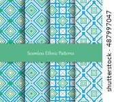 seamless vector mosaic patterns ... | Shutterstock .eps vector #487997047