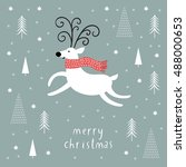 christmas card  christmas deer  ... | Shutterstock . vector #488000653